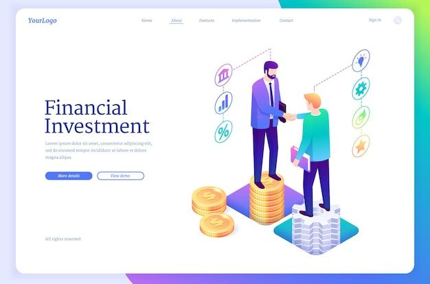 Izometryczna strona docelowa inwestycji finansowych