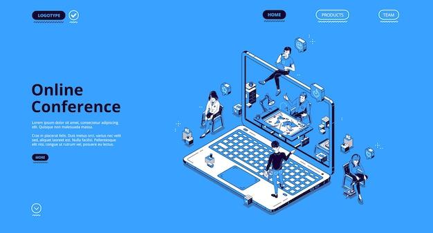 Izometryczna strona docelowa konferencji online, drobni ludzie biznesu komunikują się za pośrednictwem internetowego połączenia wideo na ogromnym laptopie. wirtualne spotkanie z kolegami, odległe miejsce pracy