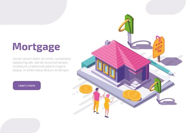 Izometryczna strona docelowa kredytu hipotecznego lub baner internetowy.