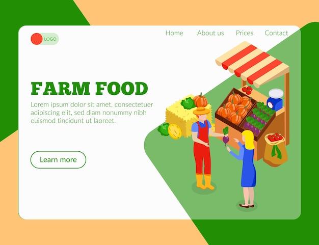 Izometryczna strona docelowa lokalnego rynku rolniczego z klikalnymi linkami, obrazami produktów żywnościowych i tekstem