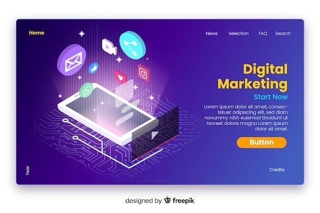 Izometryczna strona docelowa marketingu cyfrowego