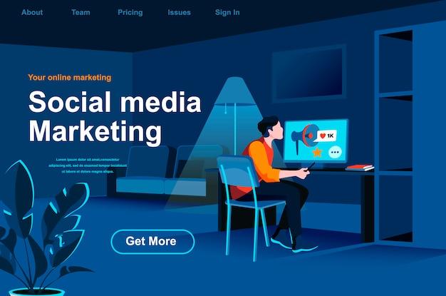 Izometryczna strona docelowa marketingu w mediach społecznościowych.