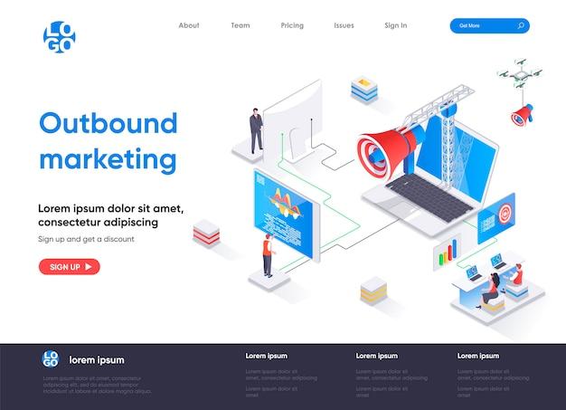 Izometryczna strona docelowa marketingu wychodzącego