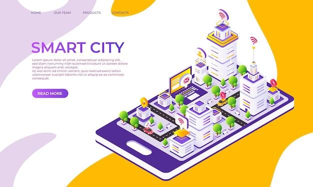 Izometryczna strona docelowa miasta. futurystyczne cyfrowe miasto z innowacyjnymi budynkami i technologią