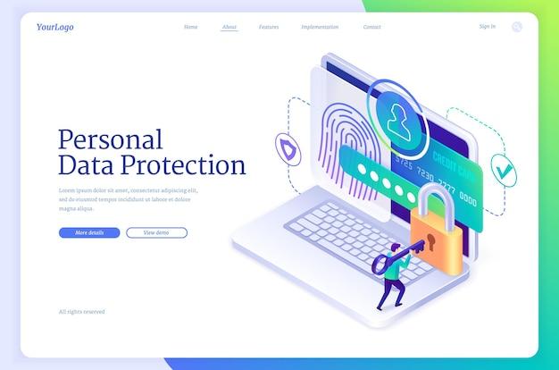 Izometryczna strona docelowa ochrony danych osobowych