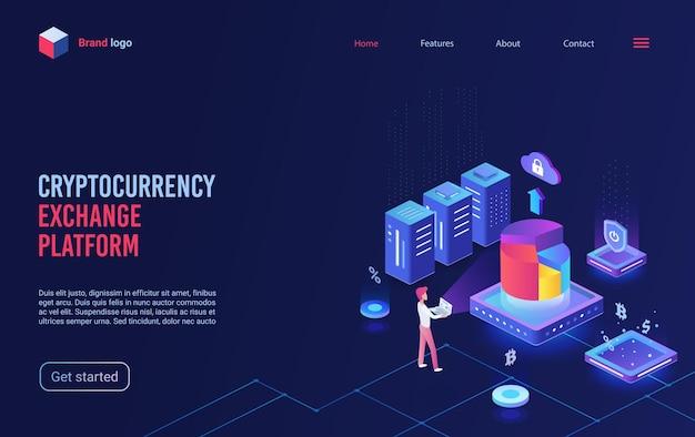 Izometryczna strona docelowa platformy wymiany kryptowalut blockchain kryptowaluty