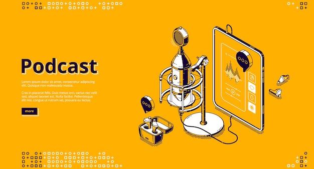 Izometryczna strona docelowa podcastu. tablet pc z aplikacją do słuchania radia lub muzyki online, słuchawkami bezprzewodowymi i mikrofonem studyjnym, korektorem i przyciskami sterowania na ekranie baner internetowy z grafiką 3d