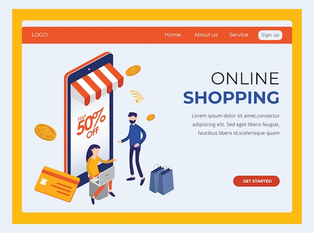 Izometryczna strona docelowa pokazująca zakupy online