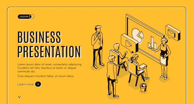 Izometryczna strona docelowa prezentacji biznesowej.