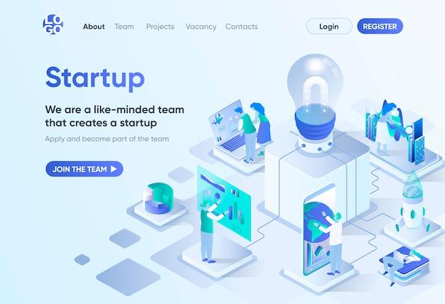 Izometryczna strona docelowa projektu startowego. założenie startupu, generowanie i rozwój pomysłów biznesowych. szablon innowacyjnych rozwiązań dla cms i kreatora stron internetowych. scena izometrii z postaciami ludzi.