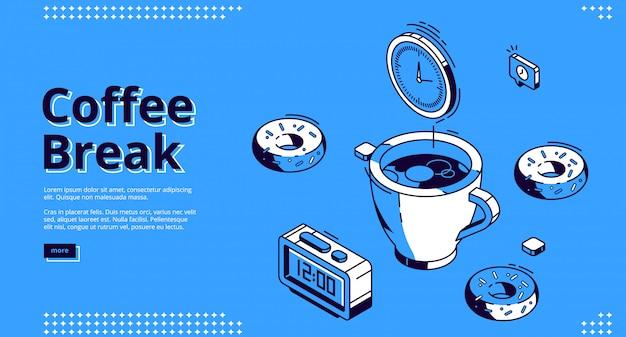 Izometryczna strona docelowa przerwy na kawę, śniadanie