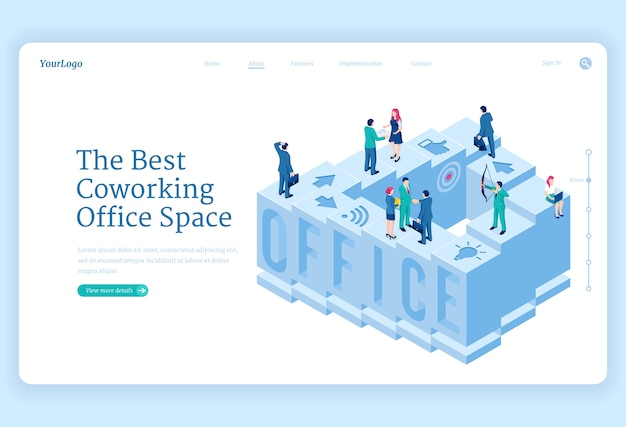 Izometryczna strona docelowa przestrzeni biurowej coworking