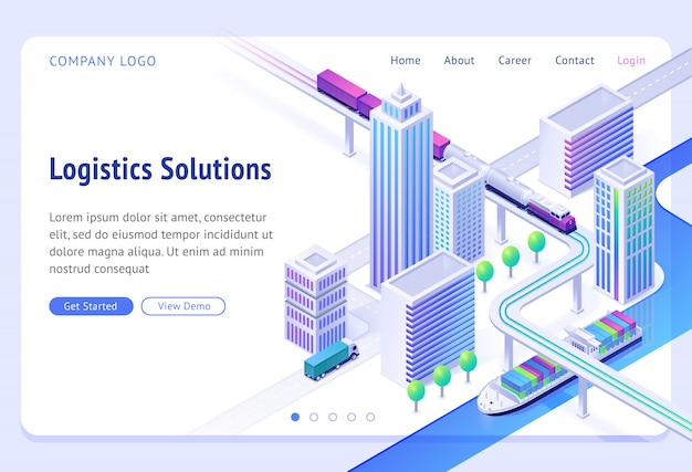 Izometryczna strona docelowa rozwiązań logistycznych. obsługa firm transportowych, import i eksport ładunków statkiem, ciężarówką lub pociągiem. transport miejski towarów lądowych i rzecznych, baner internetowy 3d