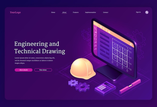 Izometryczna strona docelowa rysunku technicznego i technicznego