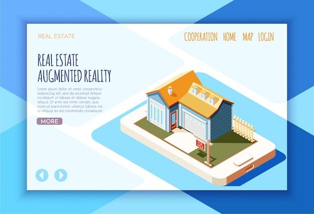 Izometryczna strona docelowa rzeczywistości rozszerzonej rzeczywistości z linkami i przyciskami więcej ilustracji
