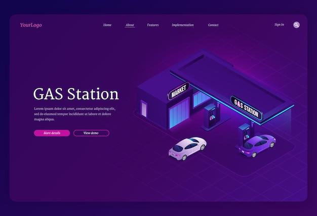 Izometryczna strona docelowa stacji benzynowej, samochody do tankowania serwisu miejskiego, sklep z benzyną z budynkiem, pojazdami i wężami, sprzedaż paliwa do transportu miejskiego, tankowanie benzyny i oleju, baner internetowy wektor 3d