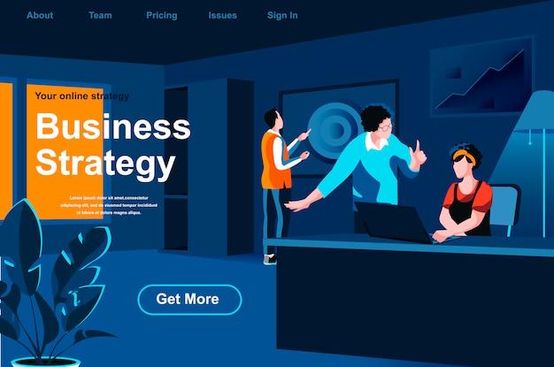 Izometryczna strona docelowa strategii biznesowej.
