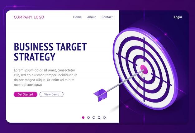 Izometryczna strona docelowa strategii celu biznesowego.