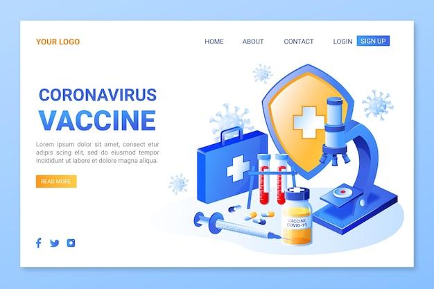 Izometryczna strona docelowa szczepionki na koronawirusa
