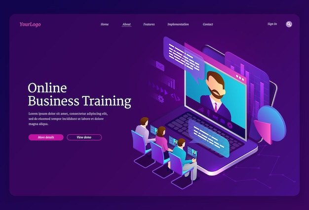 Izometryczna strona docelowa szkolenia biznesowego online