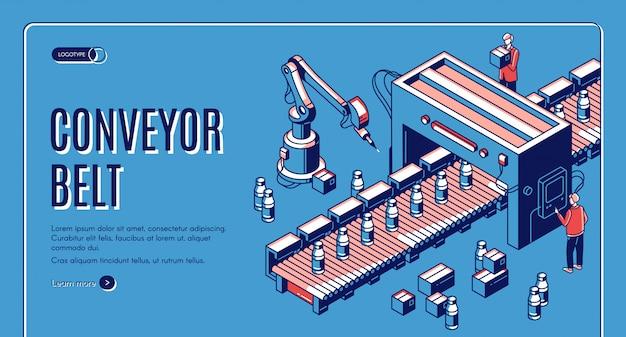 Izometryczna strona docelowa taśmy przenośnika. ramię robota do pakowania butelek mleka na linii transportera. automatyzacja, inteligentni asystenci robotów przemysłowych.