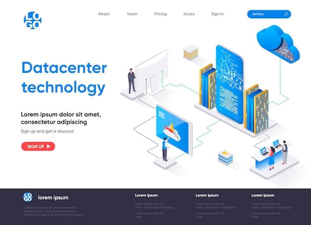 Izometryczna strona docelowa technologii centrum danych