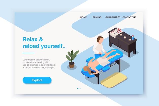 Izometryczna strona docelowa terapii masażu lub układ witryny internetowej