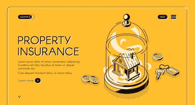 Izometryczna strona docelowa ubezpieczenia nieruchomości. stojak do budowania nieruchomości pod szklaną kopułą z rozrzuconymi wokół kluczami i pieniędzmi. domowa usługa ochrony przed wypadkami