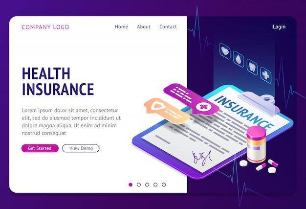 Izometryczna strona docelowa ubezpieczenia zdrowotnego