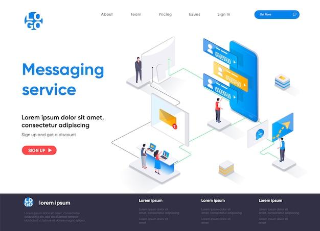 Izometryczna strona docelowa usługi przesyłania wiadomości