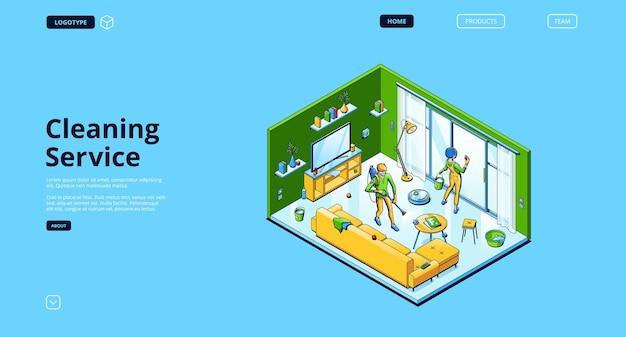 Izometryczna strona docelowa usługi sprzątania