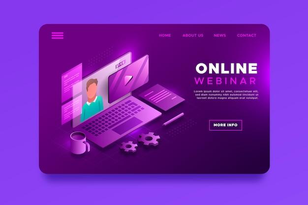 Izometryczna strona docelowa webinaru