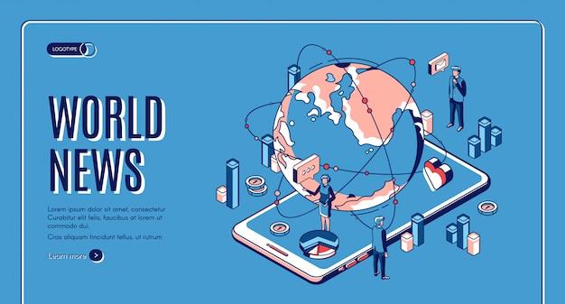 Izometryczna strona docelowa wiadomości ze świata. kula ziemska leżąca na ogromnym ekranie smartfona z prezenterami telewizyjnymi transmitującymi w telewizji. światowy biznes medialny