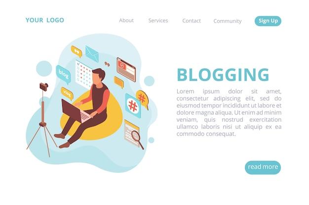 Izometryczna strona docelowa witryny blogger z ludzkim charakterem i chmurą piktogramów z klikalnymi linkami