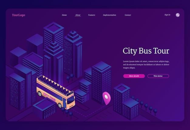 Izometryczna strona docelowa wycieczki autobusowej po mieście.