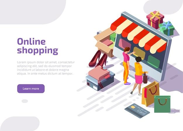 Izometryczna strona docelowa zakupów online, klienci kupujący w sklepie cyfrowym.