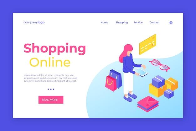 Izometryczna strona docelowa zakupów online