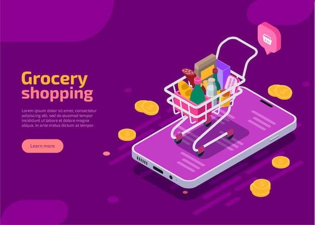 Izometryczna strona docelowa zakupów spożywczych, fioletowy baner internetowy.