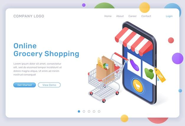 Izometryczna strona docelowa zakupów spożywczych online, cyfrowy sklep do zakupów żywności, towary w wózku na ogromnym smartfonie z aplikacją mobilną rynku internetowego na ekranie. cyber shop 3d baner internetowy