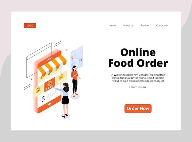 Izometryczna strona docelowa zamówienia żywności online