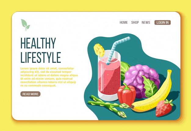 Izometryczna strona docelowa zdrowego stylu życia z informacjami tekstowymi i wizualnymi na temat pokarmów przydatnych do ilustracji ciała