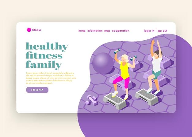 Izometryczna strona docelowa zdrowej rodziny fitness z postaciami kobiecymi wykonującymi ćwiczenia w płaskiej sali gimnastycznej