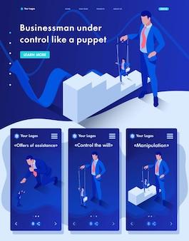 Izometryczna strona internetowa strona docelowa biznesmena jest pod kontrolą jak marionetka