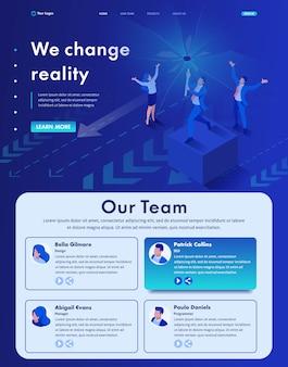 Izometryczna strona internetowa strona docelowa zmieniamy rzeczywistość, niszczymy twój pogląd na nowoczesny biznes