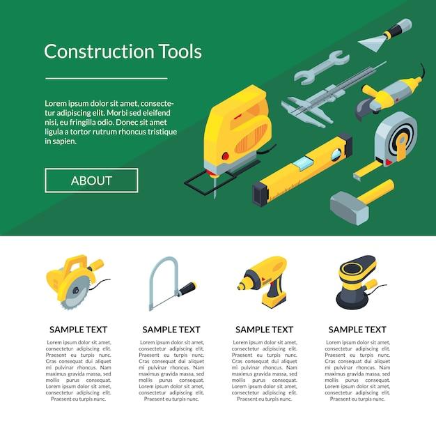 Izometryczna strona narzędzi budowlanych