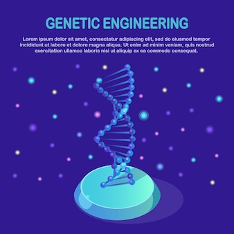 Izometryczna struktura dna. koncepcja nauki biotechnologii