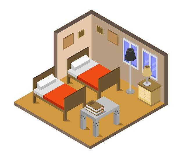 Izometryczna sypialnia