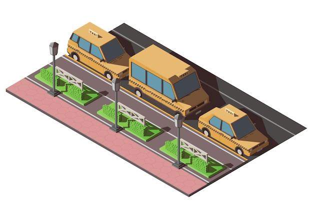 Izometryczna taksówka low poly