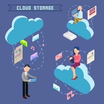 Izometryczna technologia komputerowa do przechowywania w chmurze