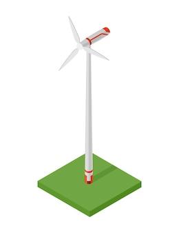 Izometryczna turbina wiatrowa. pojęcie czystej energii. czysta ekologiczna moc. odnawialna energia elektryczna